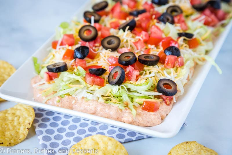 Our favorite taco dip. Super easy to make, delicious creamy layers and perfect game day snack!