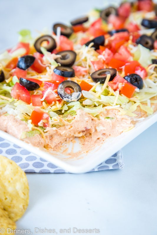 The best taco dip for an get together! Creamy, spicy, and delicious.