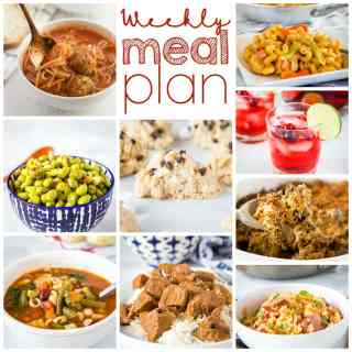 Weekly Meal Plan Week 232- Make the week easy with this delicious meal plan. 6 dinner recipes, 1 side dish, 1 dessert, and 1 fun cocktail make for a tasty week!