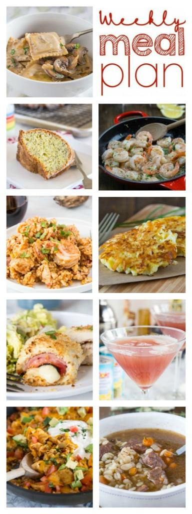 Weekly Meal Plan Week 239- Make the week easy with this delicious meal plan. 6 dinner recipes, 1 side dish, 1 dessert, and 1 fun cocktail make for a tasty week!