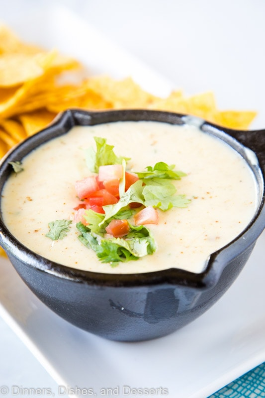 Homemade White Mexican Queso Dip is so easy to make and great for taco night or your next party