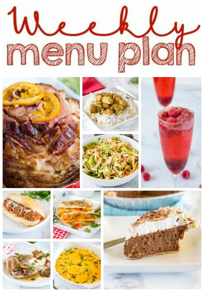 Weekly Meal Plan Week 247- Make the week easy with this delicious meal plan. 6 dinner recipes, 1 side dish, 1 dessert, and 1 fun cocktail make for a tasty week!