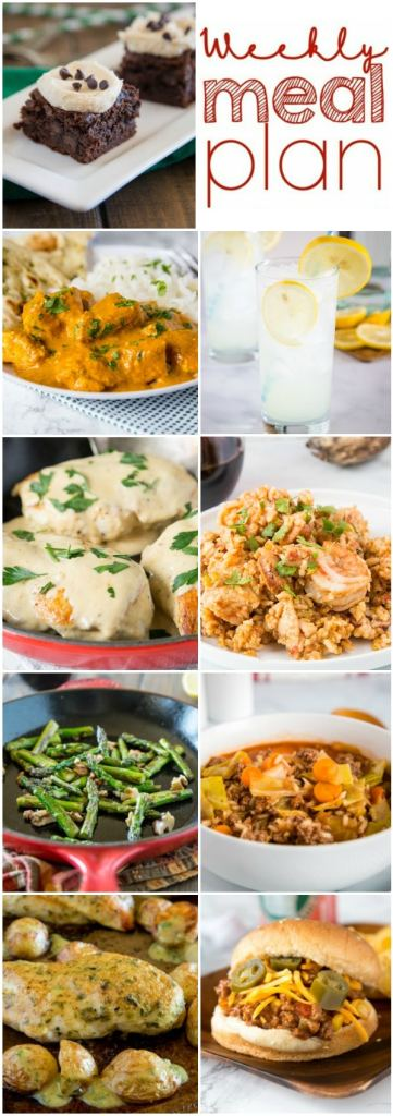 Weekly Meal Plan Week 244- Make the week easy with this delicious meal plan. 6 dinner recipes, 1 side dish, 1 dessert, and 1 fun cocktail make for a tasty week!