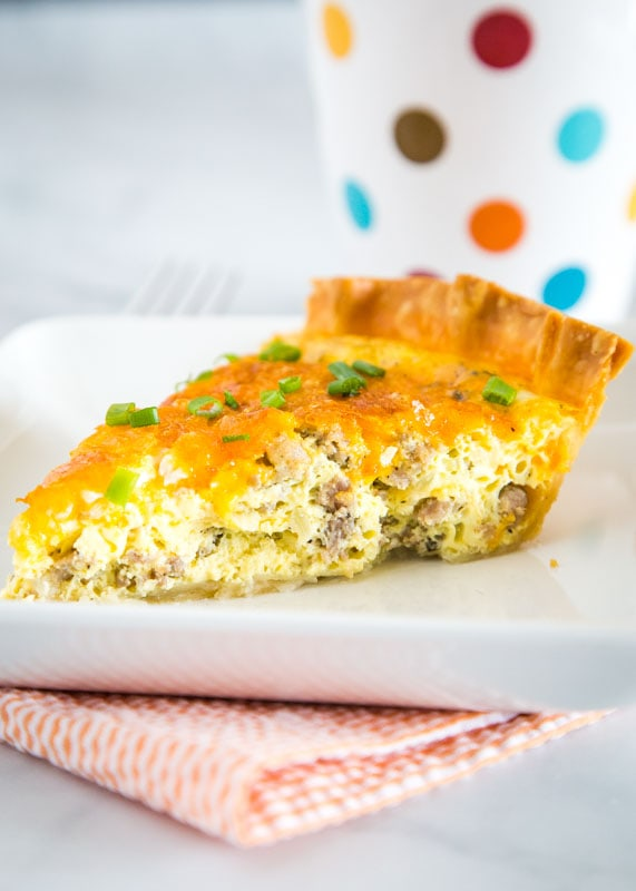 Quiche is such an easy brunch or dinner recipe.  This version is full of breakfast sausage, cheese and onions.