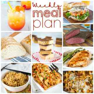 Weekly Meal Plan Week 253- Make the week easy with this delicious meal plan. 6 dinner recipes, 1 side dish, 1 dessert, and 1 fun cocktail make for a tasty week!