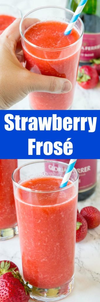Frosé - A frozen rosé wine slushie with strawberries.  A super simple idea that is refreshing and delicious all summer long!
