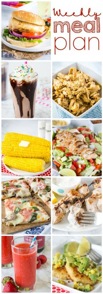 Weekly Meal Plan Week 262- Make the week easy with this delicious meal plan. 6 dinner recipes, 1 side dish, 1 dessert, and 1 fun cocktail make for a tasty week!