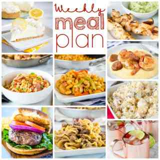 Weekly Meal Plan Week 259- Make the week easy with this delicious meal plan. 6 dinner recipes, 1 side dish, 1 dessert, and 1 fun cocktail make for a tasty week!