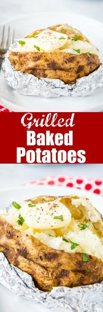 Baked Potatoes on the Grill - these baked potatoes on cooked on the grill, so they are a super easy side dish with anything you are grilling for dinner!