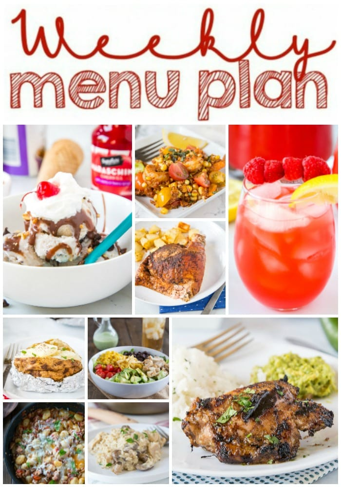 Weekly Meal Plan Week 264- Make the week easy with this delicious meal plan. 6 dinner recipes, 1 side dish, 1 dessert, and 1 fun cocktail make for a tasty week!