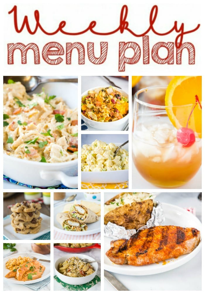 Weekly Meal Plan Week 265- Make the week easy with this delicious meal plan. 6 dinner recipes, 1 side dish, 1 dessert, and 1 fun cocktail make for a tasty week!