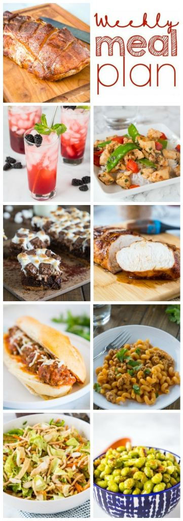 Weekly Meal Plan Week 269 - Make the week easy with this delicious meal plan. 6 dinner recipes, 1 side dish, 1 dessert, and 1 fun cocktail make for a tasty week!