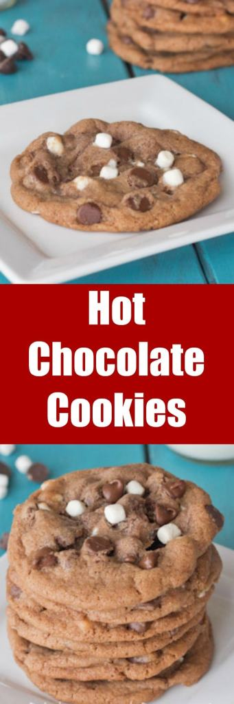 Hot Chocolate Cookies - Enjoy a cozy winter favorite in more than just a glass! Chocolate Chip Cookies come together with Hot Chocolate for a gooey and delicious treat!