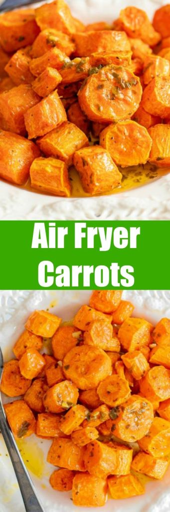 close up of air fryer carrots on plate