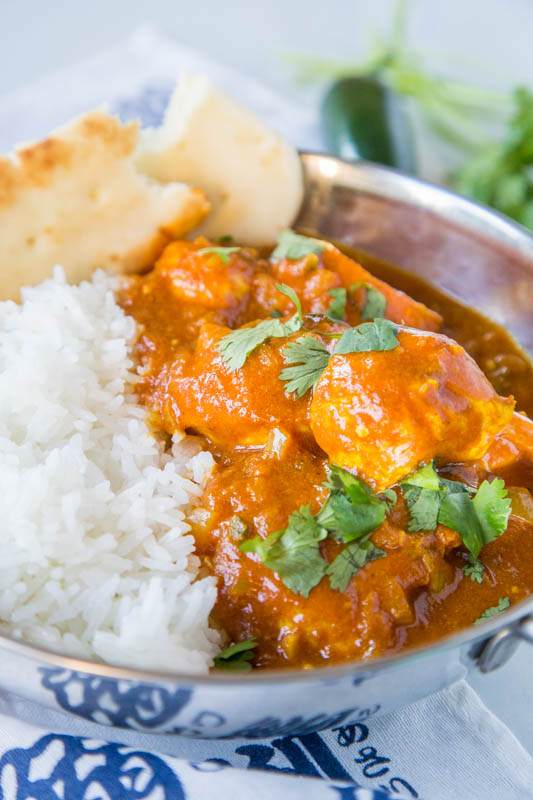 bowl of chicken vindaloo with rice
