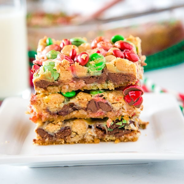 magic bars stacked on white plate