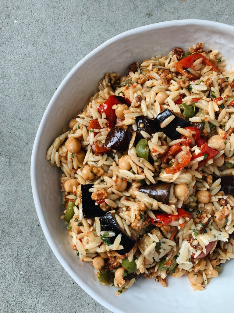chickpea orzo grain salad with roasted eggplant and red pepper
