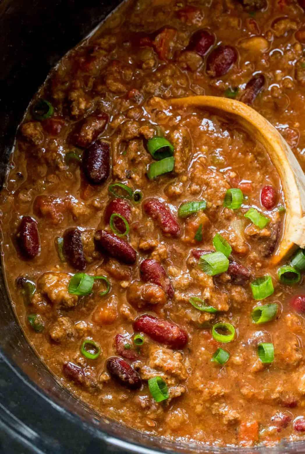 Slow Cooker Beef Chili {Crockpot Chili} - Dinner, then Dessert