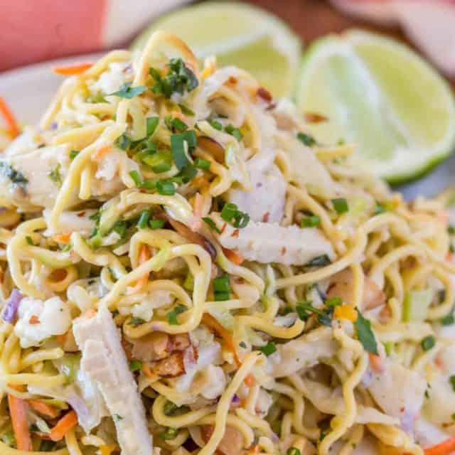 Ramen Noodle Salad made with Ramen Noodles on serving plate