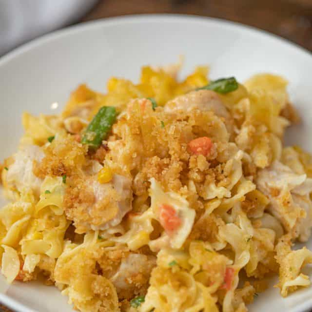Chicken Noodle Casserole spooned onto a plate