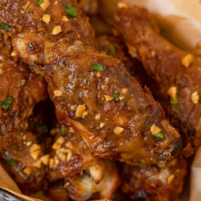 Thai Peanut Chicken Wings in bowl
