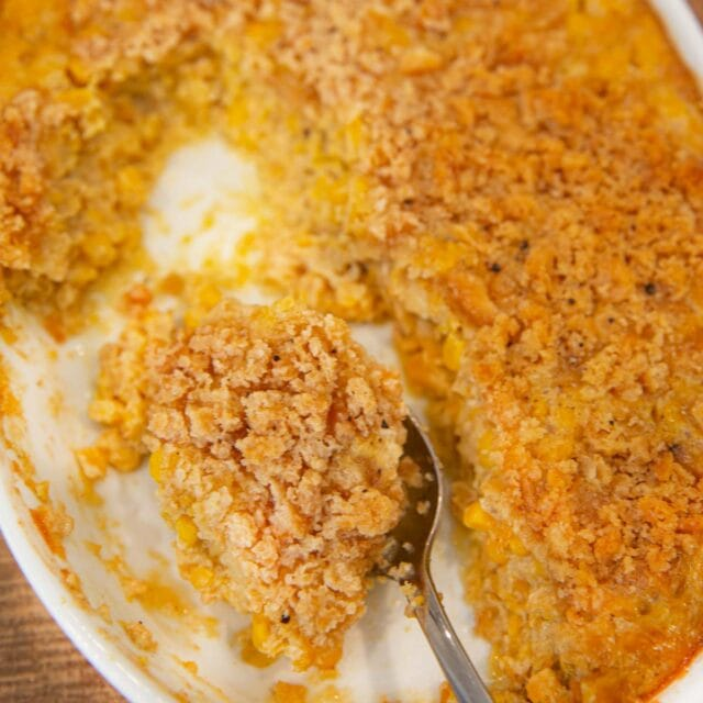 Scalloped Corn with spoon