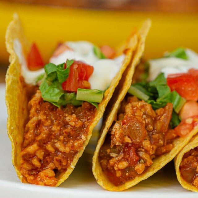 Ground Chicken Tacos on plate