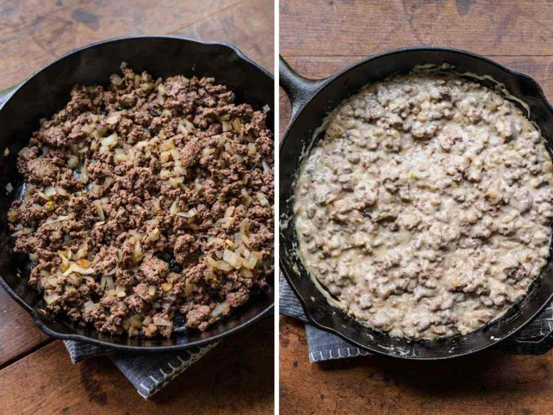 Ground beef before and after adding sour cream mixture for Bacon Cheeseburger Tater Tot Casserole