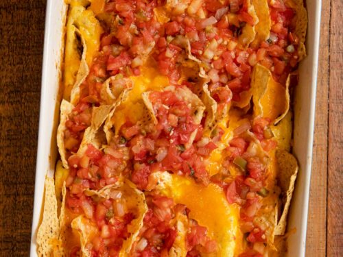 Cheesy Baked Chilaquiles in baking dish