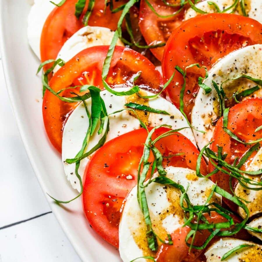 Tomato Mozzarella Salad on serving platter