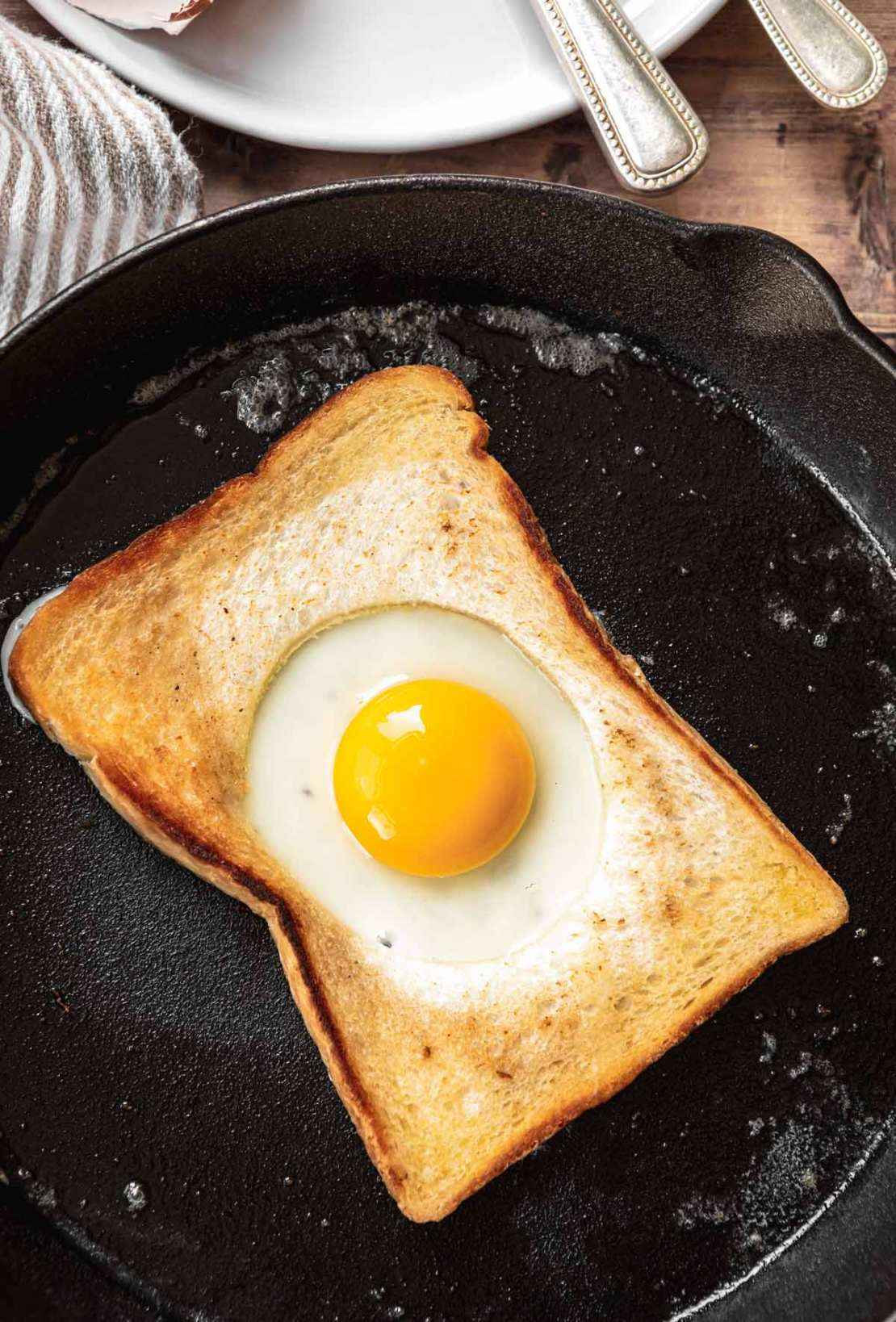 Egg in a Hole in frying pan