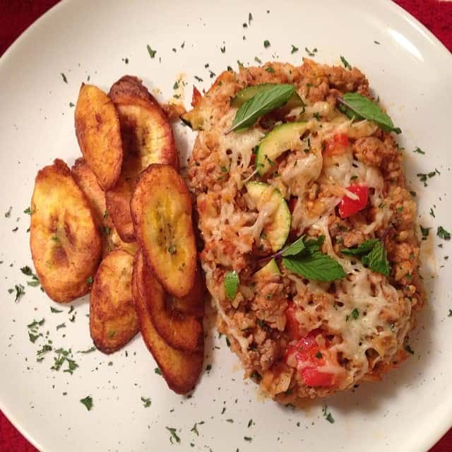 Quinoa & Turkey Casserole with Fried Plantain