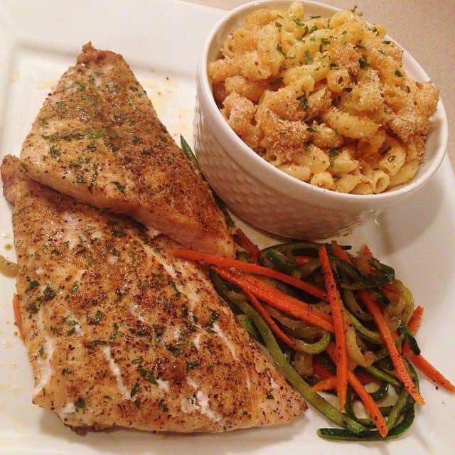 Grilled Red Snapper w/ Baked Mac & Cheese (with Bacon)