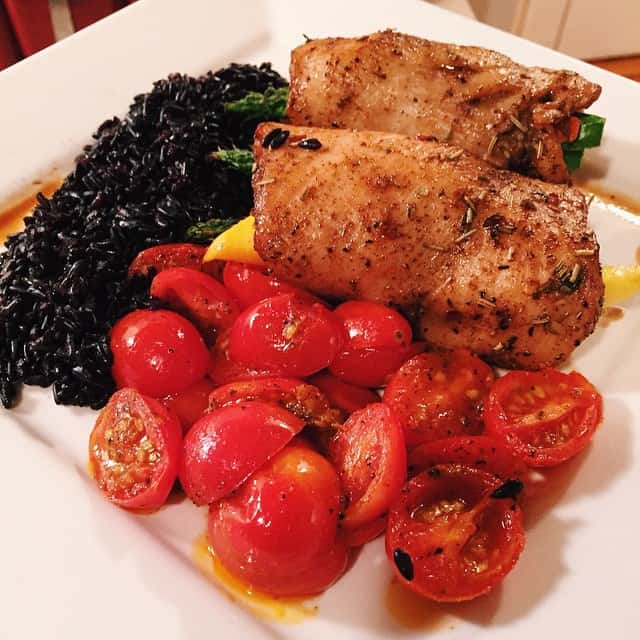 Tropical Baked Chicken With Black Rice and Tomatoes