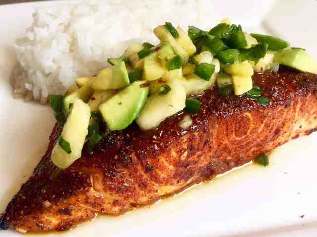 Sweet and Spicy Salmon with Pineapple Avocado Salsa