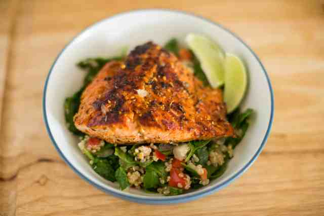 Pan Seared Chipotle Sockeye Salmon Quinoa Salad