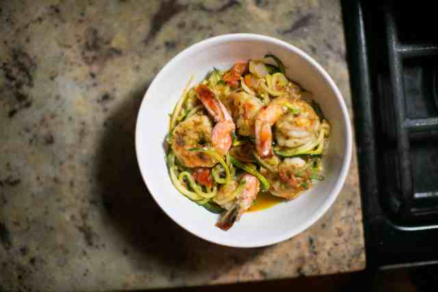 Shrimp and Zucchini Noodle Bowl