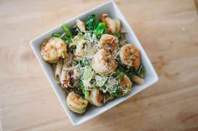 Shrimp and Squid Pasta Bowl