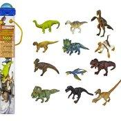 Safari Ltd. Gefiederte Dinosaurier Toob 681904- 12x handbemalte Sammelfiguren in Tube-Apatosaurus, Triceratops, Iguanodon, Corythosaurus, Stegosaurus, Ankylosaurus, Tyrannosaurus rex, Dimetrodon, Velociraptor, Spinosaurus, Diplodocus und Pteranodon - 1