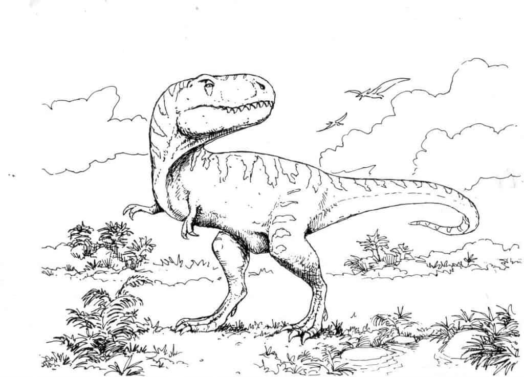 Excelente Parque Jurásico T Rex Para Colorear Viñeta