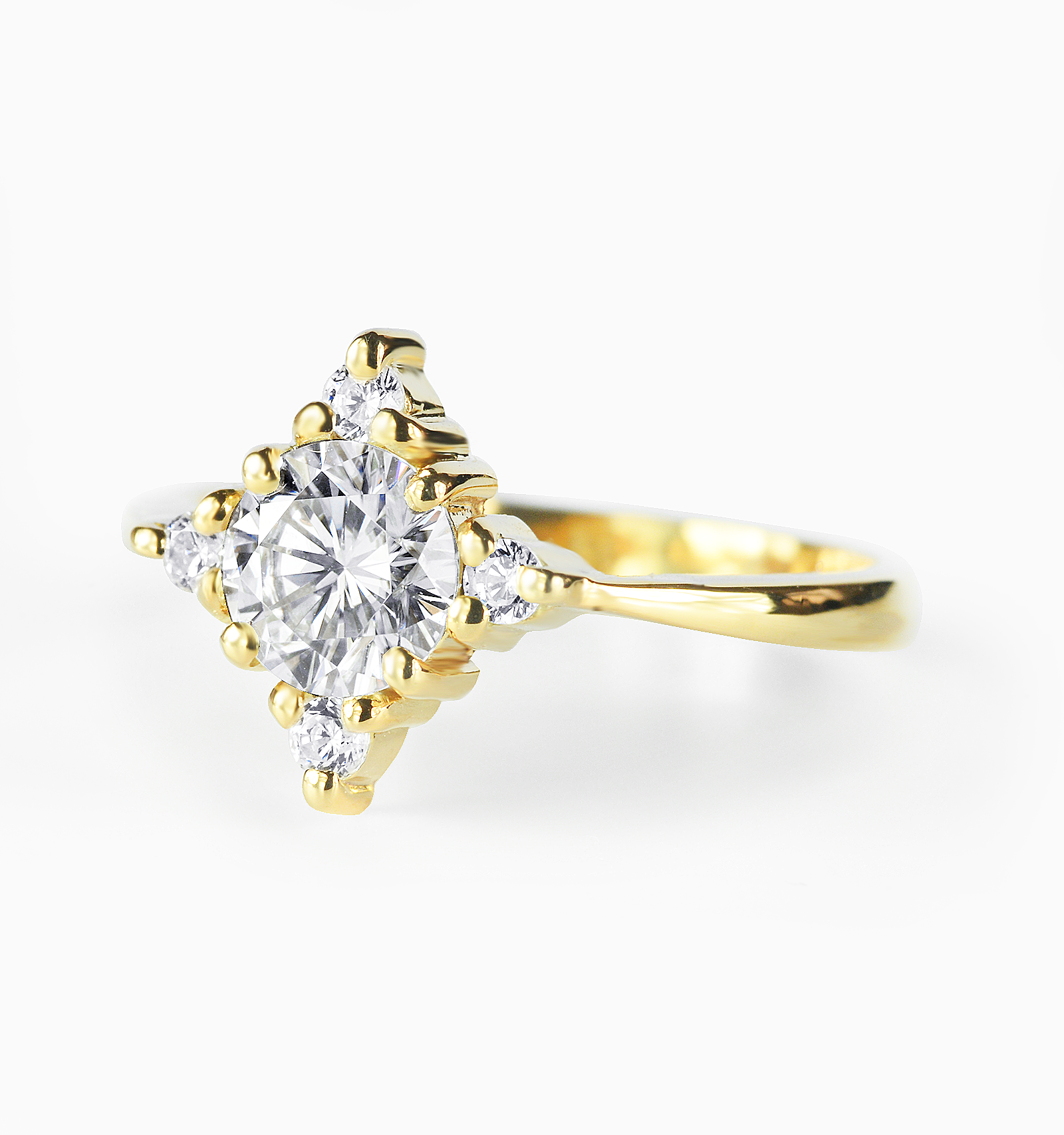 70195cb3fbf6e Round Brilliant cut 0.50ct Moissanite and Diamond Engagement Ring in Yellow  Gold