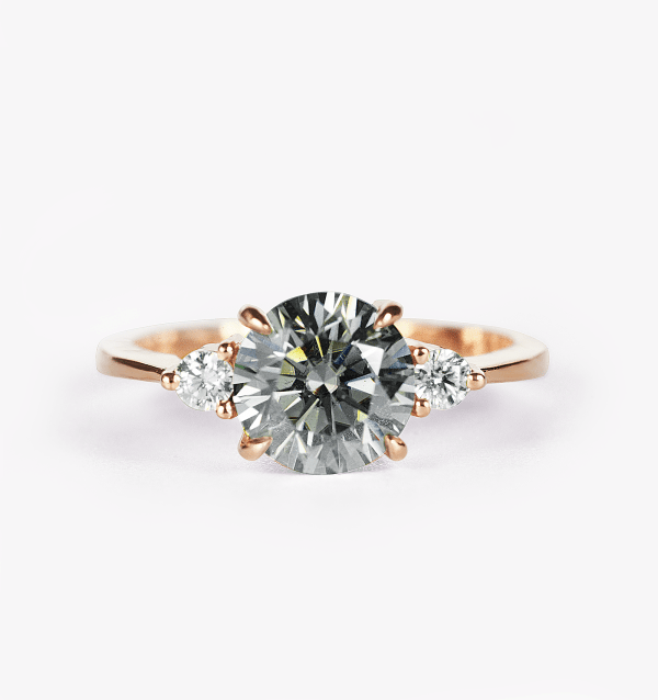 Round Grey Moissanite And Diamond Engagement Ring In Rose Gold Diorah Jewellers