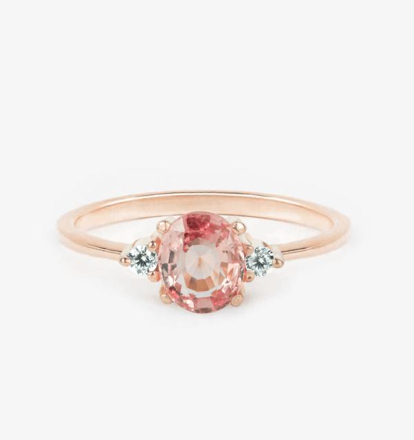 peach sapphire engagement ring