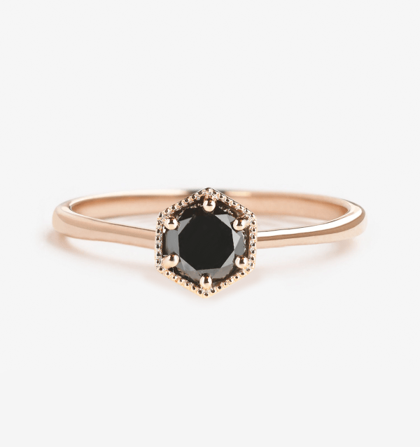 black diamond engagement ring in rose gold hexagonal shape