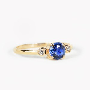 blue sapphire engagement ring perfect for minimal jewelry
