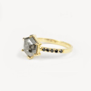 hexagon salt and pepper diamond engagement ring