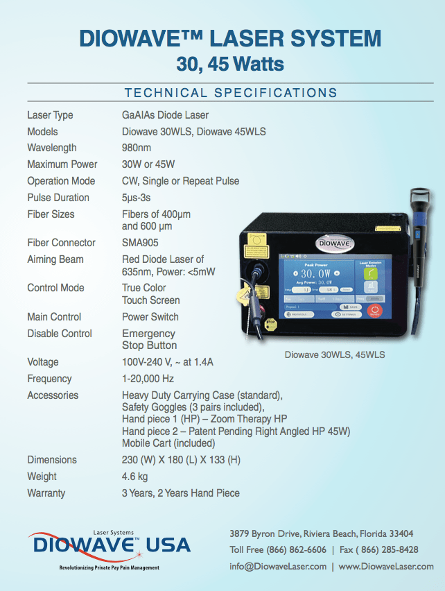 Diowave 30 Watt Portable Laser Specifications and Diowave 45 Watt Portable Laser Specifications