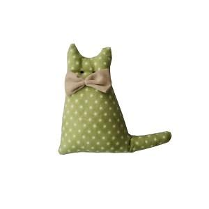 lembrancinha de pano em forma de gatinho verde estampado