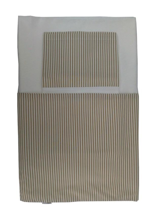 Perspectiva de lençol solteiro 400 fios branco com barrado listrado branco e bege