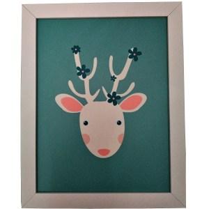 quadro moldura branca com gravura infantil de rena